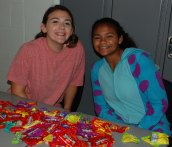Olivia Jones and Carol Lage at Project Pumpkin. Veritas photo