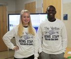 Kiara Miguel and Austin Clarke were at the Veritas station.
