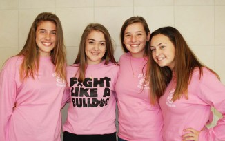 Bella Dangora, Celia Jones, Tori Dalton and Kayleigh Carey on Friday, Sept. 27, Pink-Out Day at RHS.