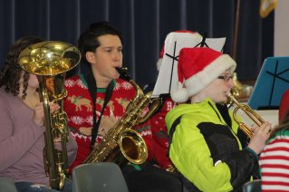 Phil Pattison on the saxophone at Memorial Park Elementary School.