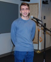 Senior Mat Bruzzese came in first in the 2020 Poetry Out Loud Contest held on Jan. 27 in the lecture hall.