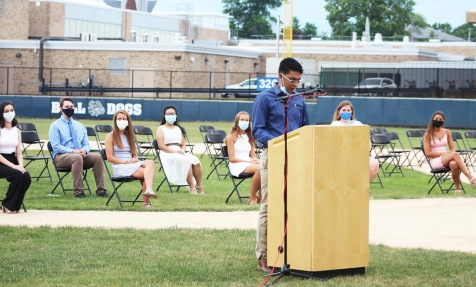 President of National Honor Society, Senior Jad Bendarkawi, served as master of ceremonies for the NHS Induction. Five seniors and 10 juniors were inducted on July 30, 2020. Twenty-five seniors in all make up the roll of the NHS.