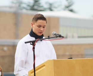 Tyler Gambon explains the concept of Leadership, a hallmark of the National Honor Society.